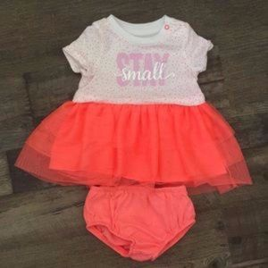 "Infant Girl's Cat & Jack ""Stay Small"" Dress Sz 0-3"